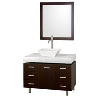 "Malibu 36"" Single Bathroom Vanity Set by Wyndham Collection - Espresso Finish with White Carrera Marble Counter, and Handles WC-CG3000H-36-ESP-WHTCAR"