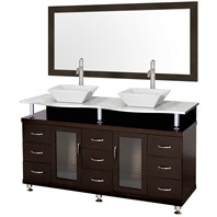 "Accara 60"" Double Bathroom Vanity with Mirror - Espresso w/ White Carrera Marble Counter B706D-60-ESP-WHTCAR"