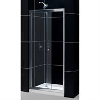 "Bath Authority DreamLine Butterfly Frameless Bi-Fold Shower Door and Single Threshold Shower Base (32"" by 32"") DL-6213C-01CL"