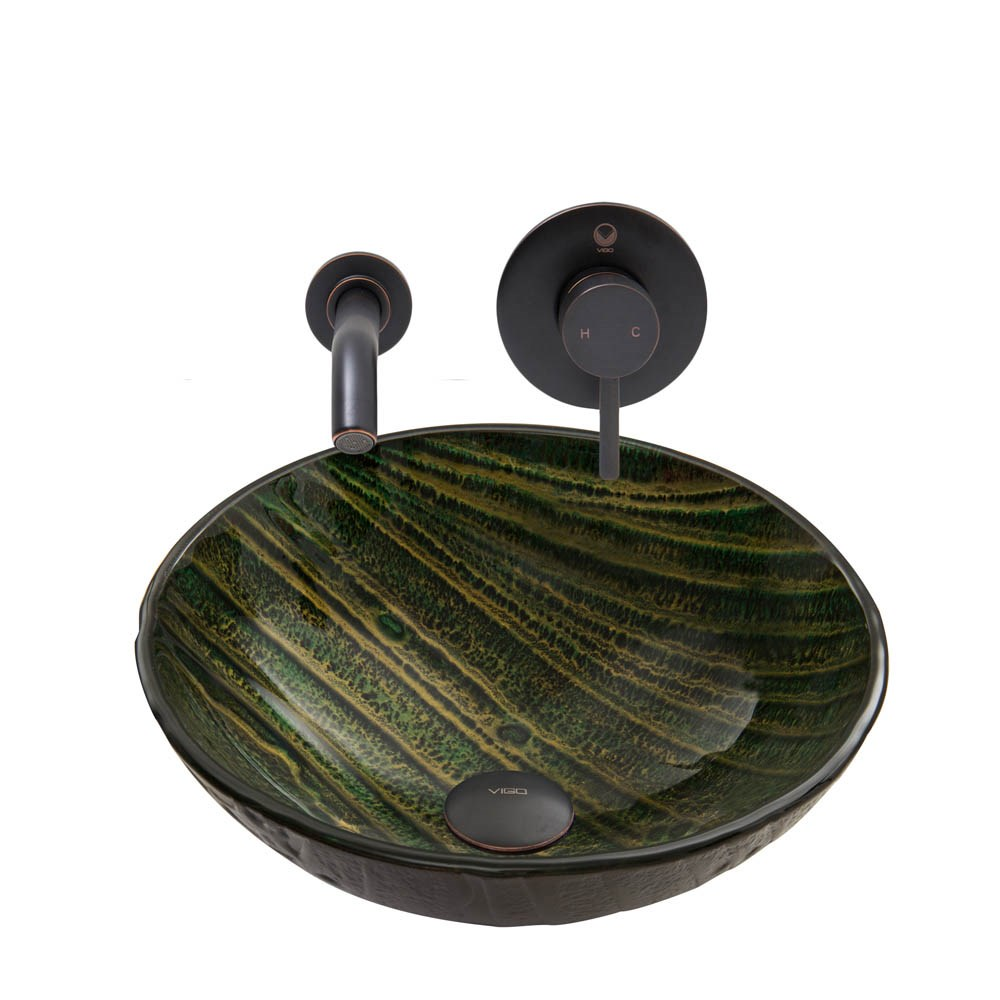 Vigo Green Asteroid Glass Vessel Sink And Olus Wall Mount Faucet Set In Antique Rubbed Bronze Finish