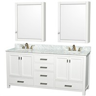 "Abingdon 72"" Double Bathroom Vanity Set by Wyndham Collection - White WC-1515-72-WHT"
