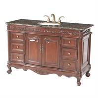 "Stufurhome 56"" Princeton Single Sink Bathroom Vanity with Baltic Brown Granite Top - Cherry GM-5110-56-BB"