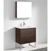 "Madeli Milano 30"" Bathroom Vanity for Quartzstone Top - Walnut B200-30-021-WA-QUARTZ"