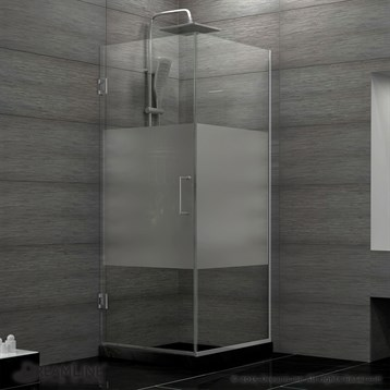 Dreamline Unidoor Plus 30 3 8 W X D 72 H Hinged Shower Enclosure Half Frosted Gl Door Free Shipping Modern Bathroom