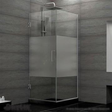 "DreamLine Unidoor Plus 30-3/8"" W x 30"" D x 72"" H Hinged Shower Enclosure, Half Frosted Glass Door... by Bath Authority DreamLine"