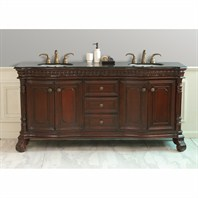 "Design Element Shakespeare 72"" Double Sink Vanity Set w/ Under Mount Sinks and Black Granite Countertop DEC405C-BG"