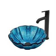VIGO Mediterranean Seashell Glass Vessel Sink and Seville Faucet Set in Matte Black Finish VGT404