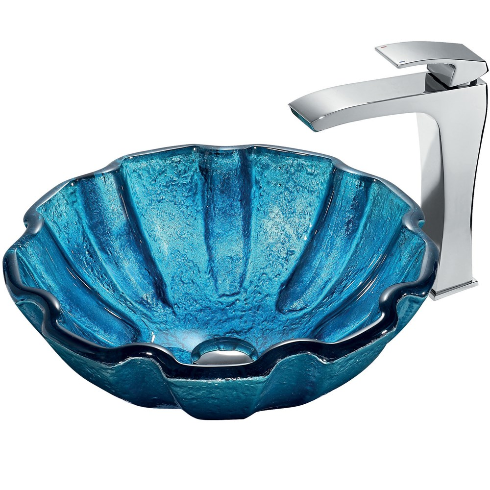 VIGO Mediterranean Seashell Glass Vessel Sink and Faucet Set in Chromenohtin Sale $249.90 SKU: VGT177 :