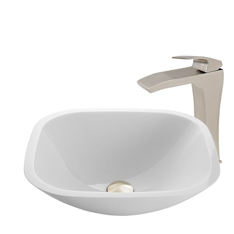 VIGO Square Shaped White Phoenix Stone Vessel Sink and Blackstonian Faucet Set in Brushed Nickel Finish VGT907