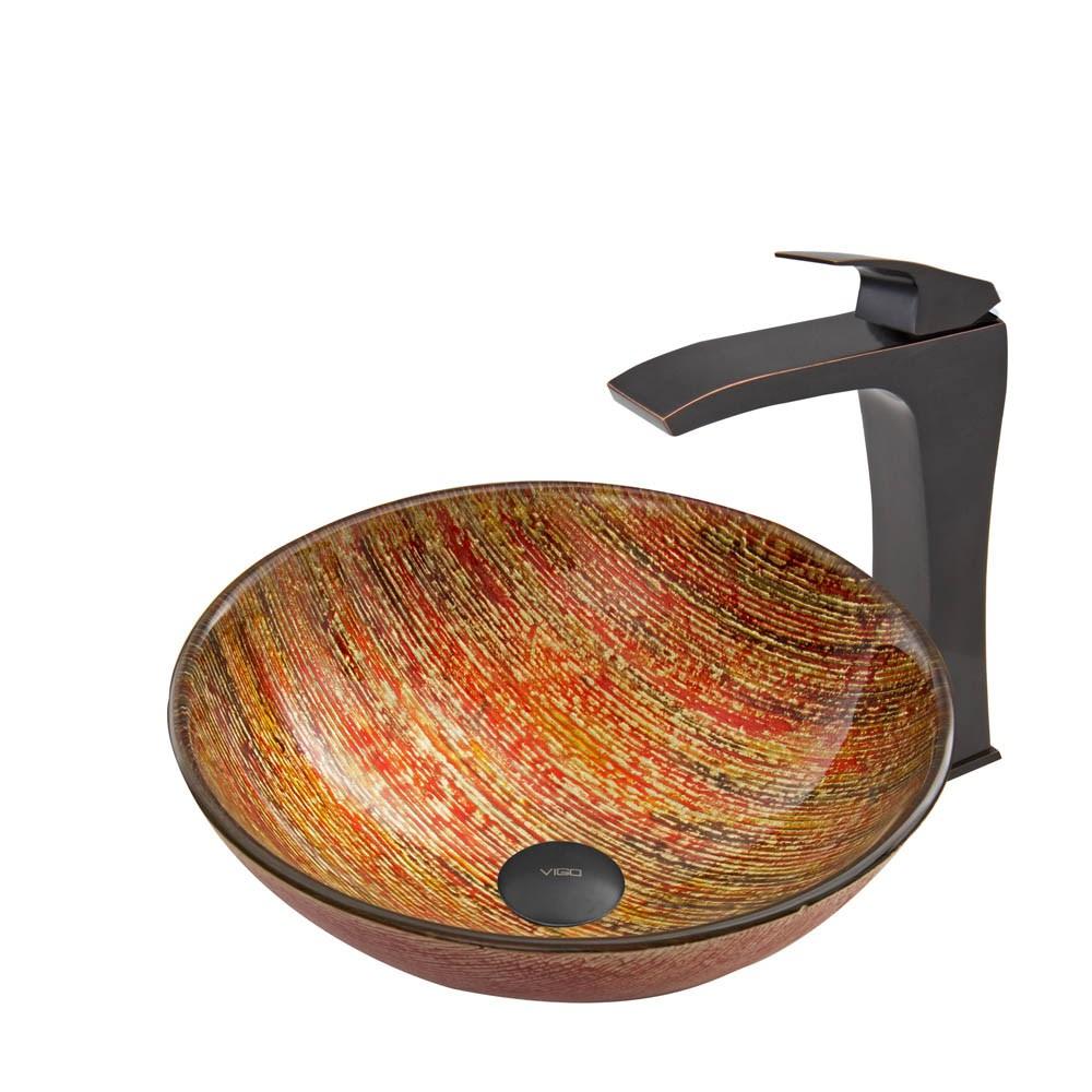 VIGO Blazing Fire Glass Vessel Sink and Blackstonian Faucet Set in Antique Rubbed Bronze Finishnohtin Sale $255.90 SKU: VGT540 :
