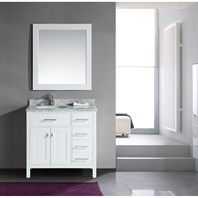 "Design Element London 36"" Single Vanity with Drawers on the Right, White Carrera Countertop, Sink and Mirror - Pearl White DEC076D-W-R"
