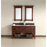 "James Martin 60"" South Hampton Double Vanity with Guangxi Marble Top - Warm Cherry 925-V60D-WCH-GWH"