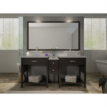 "Ariel Kennedy 73"" Double Sink Vanity Set with Carrera White Marble Countertop, Espresso H073D-ESP by Ariel"