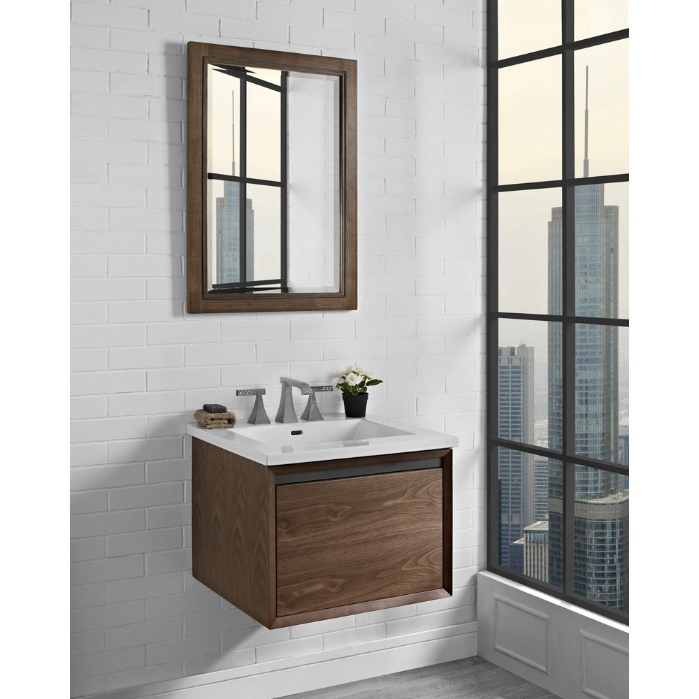 "Fairmont Designs M4 24"" Wall Mount Vanity for Integrated Sinktop - Natural Walnutnohtin Sale $775.00 SKU: 1505-WV24- :"