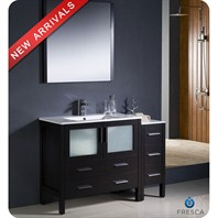 "Fresca Torino 48"" Espresso Modern Bathroom Vanity with Side Cabinet & Integrated Sinks FVN62-3612ES-UNS"