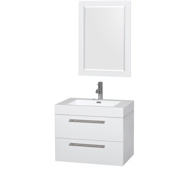 "Amare 30"" Wall-Mounted Bathroom Vanity Set with Integrated Sink by Wyndham Collection, Glossy White... by Wyndham Collection®"