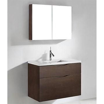 "Madeli Bolano 36"" Bathroom Vanity for Quartzstone Top, Walnut B100-36-022-WA-QUARTZ by Madeli"