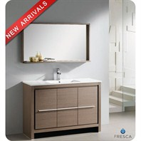 "Fresca Allier 48"" Gray Oak Modern Bathroom Vanity with Mirror FVN8148GO"