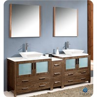 "Fresca Torino 84"" Walnut Brown Modern Double Sink Bathroom Vanity with Side Cabinet & Vessel Sinks FVN62-361236WB-VSL"