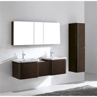 "Madeli Euro 60"" Double Bathroom Vanity with Integrated Basins - Walnut Euro-60-WA"