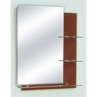 "ZHJ26 Bathroom Mirror with Glass Shelves (26"" x 32"") - Chocolate"
