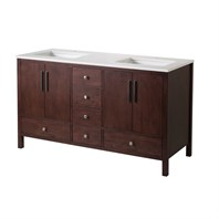 "Stufurhome Rockford 59"" Double Sink Bathroom Vanity with White Quartz Top - Natural Wood TY-7555-59-QZ"