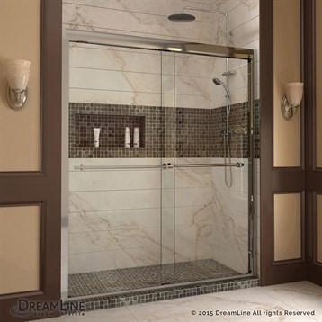 """Bath Authority DreamLine Duet Frameless Bypass Sliding Shower Door and SlimLine Single Threshold Shower Base, 30""""... by Bath Authority DreamLine"""