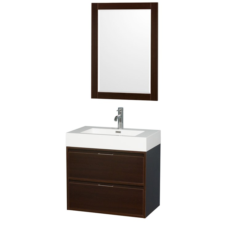 "Daniella 30"" Wall-Mounted Bathroom Vanity Set With Integrated Sink by Wyndham Collection - Espresso WC-R4600-30-VAN-ESP"