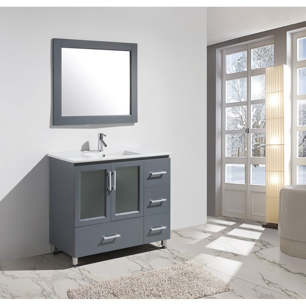 "Design Element Stanton 40"" Bathroom Vanity Set with Drop-In Sink - Graynohtin Sale $899.00 SKU: B40-DS-G :"