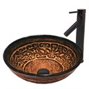 VIGO Golden Greek Glass Vessel Sink and Dior Faucet Set in Antique Rubbed Bronze Finish VGT372