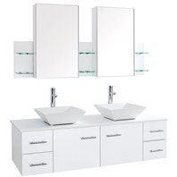"Bianca 60"" Wall-Mounted Double Bathroom Vanity - White WHE007-60-WHT"