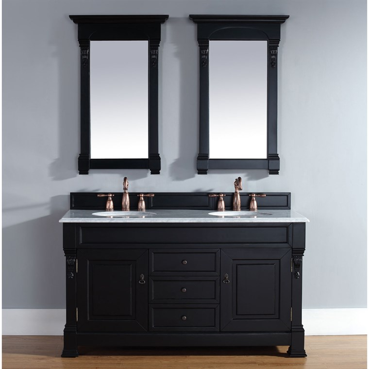 "James Martin 60"" Brookfield Double Cabinet Vanity - Antique Black 147-114-5631"