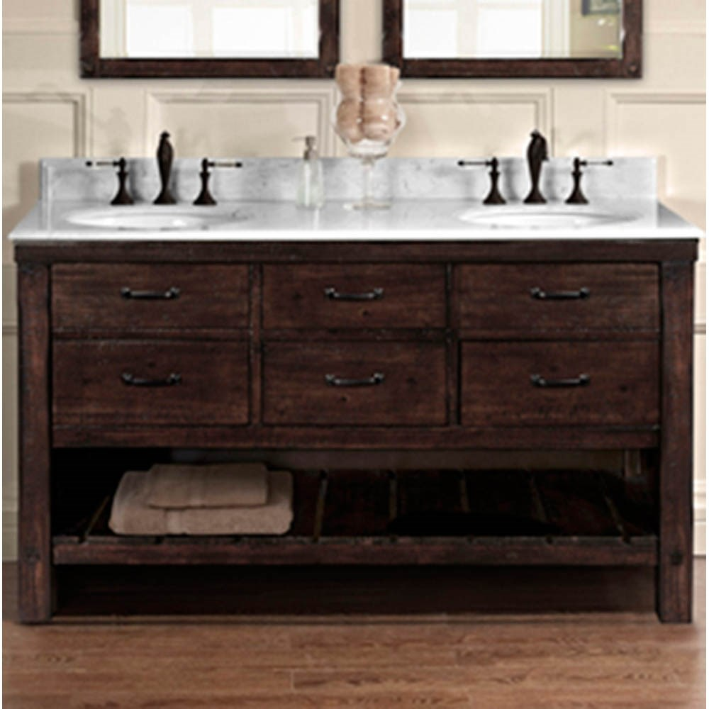 "Fairmont Designs Napa 60"" Double Bowl Open Shelf Vanity - Aged Cabernetnohtin Sale $1870.00 SKU: 1506-VH6021D :"