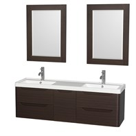 "Murano 60"" Wall-Mounted Double Bathroom Vanity Set with Integrated Sink by Wyndham Collection - Espresso WC-7777-60-DBL-VAN-ESP"