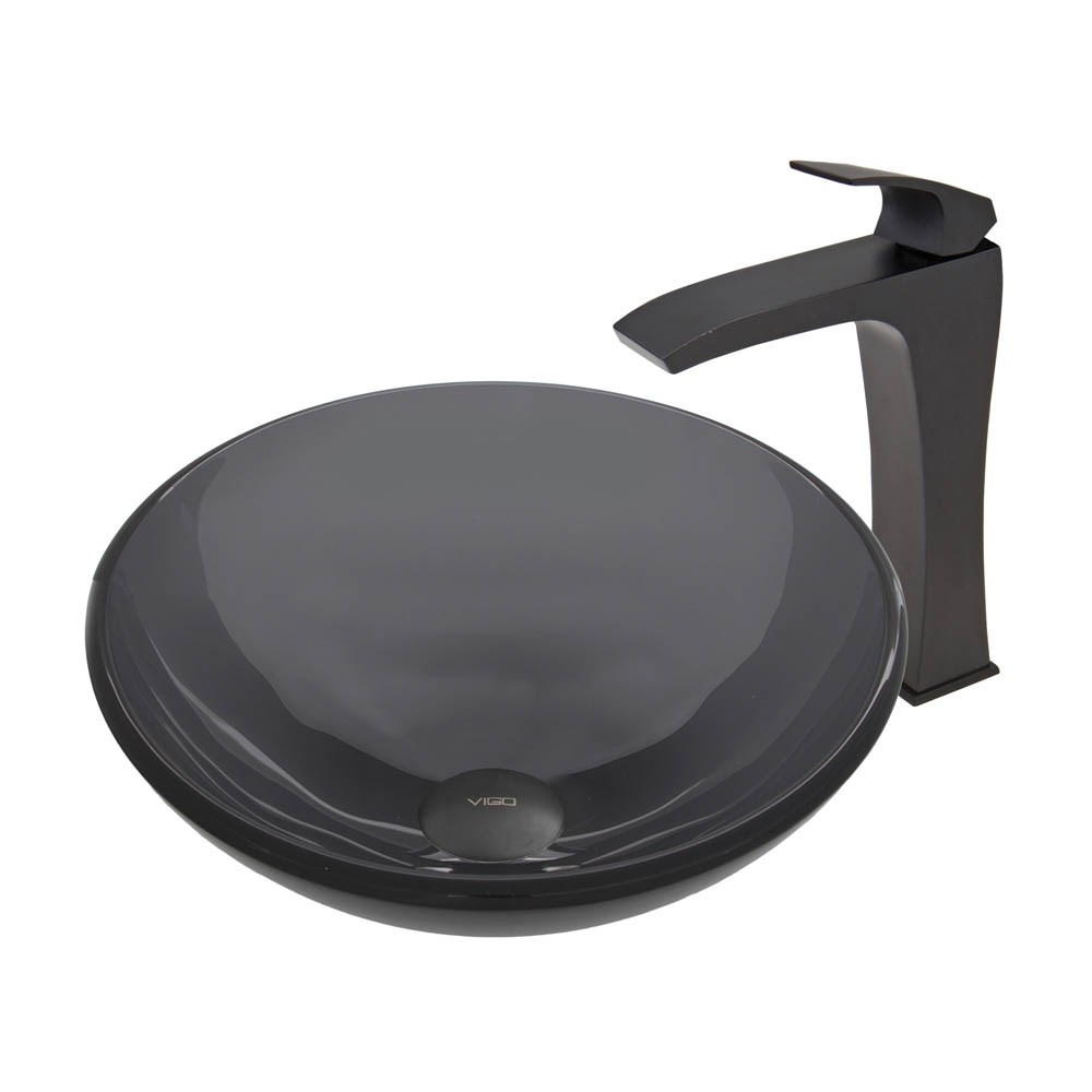 VIGO Sheer Black Glass Vessel Sink and Blackstonian Faucet Set in Matte Black Finishnohtin Sale $245.90 SKU: VGT461 :