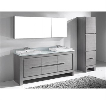 """Madeli Vicenza 72"""" Double Bathroom Vanity for Glass Counter and Porcelain Basins, Ash Grey B999-72D-001-AG-GLASS by Madeli"""