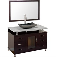 "Accara 48"" Bathroom Vanity with Drawers - Espresso w/ White Carrera Marble Counter B706D-48-ESP-WHTCAR"