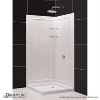 "Bath Authority DreamLine SlimLine Double Threshold Shower Base and QWALL-4 Shower Backwalls Kit (32"" by 32"") DL-6181-01"