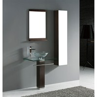 "Madeli Rimini 24"" Glass Top Bathroom Vanity - Walnut B942-06-001-WA-GLASS"