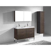"Madeli Milano 48"" Double Bathroom Vanity for X-Stone Integrated Basins - Walnut B200-24-002-WA-X2-XSTONE"