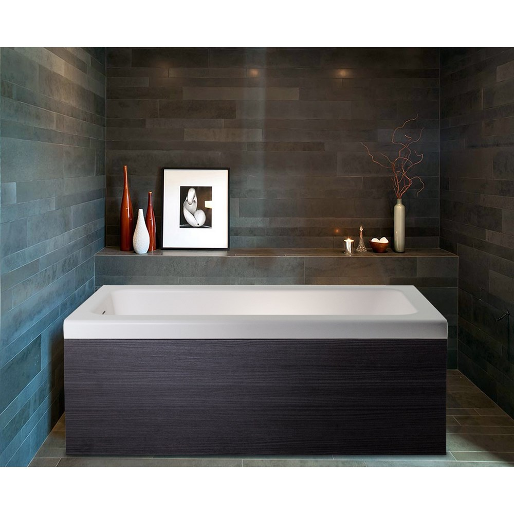 Pure 1D Back To Wall Solid Surface Bathtub with Dark Decorative Wooden Side Panels - Matte White and Dark Oaknohtin Sale $3933.00 SKU: Aquatica Pure-1-Wht-DOak :