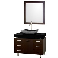 "Malibu 36"" Single Bathroom Vanity Set by Wyndham Collection - Espresso Finish with Black Granite Counter and Black Granite Sink, and Handles WC-CG3000H-36-ESP-BLK-GR"
