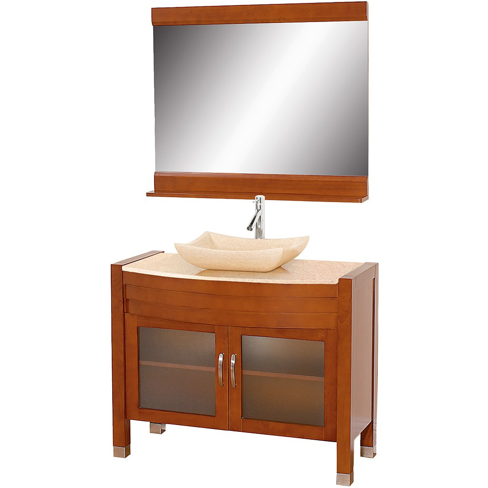 "Daytona 42"" Bathroom Vanity with Mirror - Cherry Finishnohtin Sale $1297.00 SKU: A-W2109-42-T-CH :"