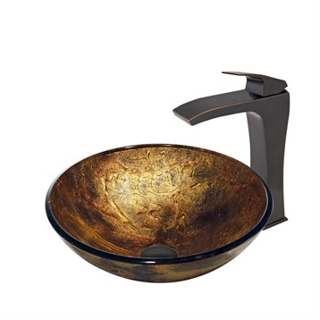 Vigo Copper Shapes Glass Vessel Sink and Blackstonian Faucet Set in Antique Rubbed Bronze Finish VGT381 by Vigo Industries