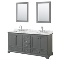 "Deborah 72"" Double Bathroom Vanity by Wyndham Collection - Dark Gray WC-2020-72-DBL-VAN-DKG"