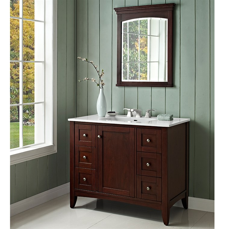 "Fairmont Designs Shaker Americana 42"" Vanity for Integrated Top - Habana Cherry 1513-V42-"