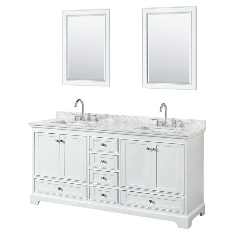 "Deborah 72"" Double Bathroom Vanity in White WC-2020-72-DBL-VAN-WHT"