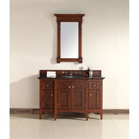 "James Martin 53"" North Hampton Single Vanity with Absolute Black Top - Warm Cherry 900-V53-WCH-ABK"