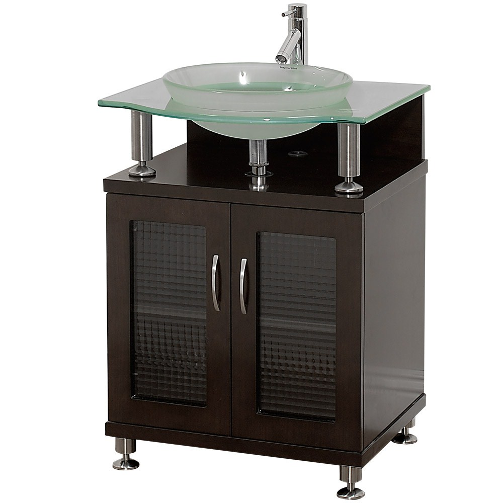 "Charlton 24"" Bathroom Vanity with Doors - Espresso w/ Clear or Frosted Glass Counternohtin"