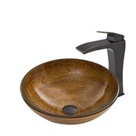 VIGO Cappuccino Swirl Glass Vessel Sink and Blackstonian Faucet Set in Antique Rubbed Bronze Finish VGT675